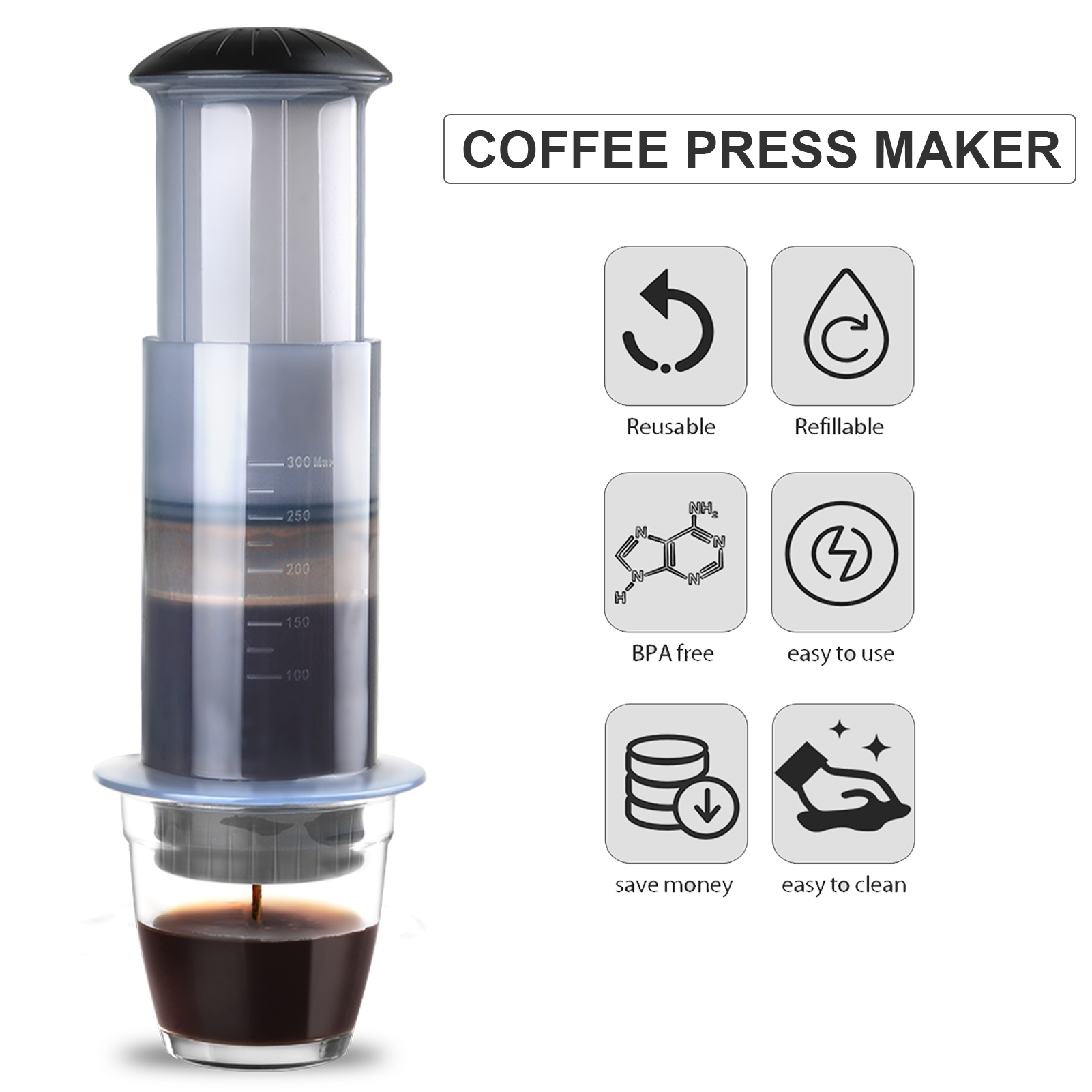 Coffee and Espresso Press Maker Portable Coffee Manual Machine with 50PCS Coffee Filter Paper for Outdoor Travel Camping Picnic