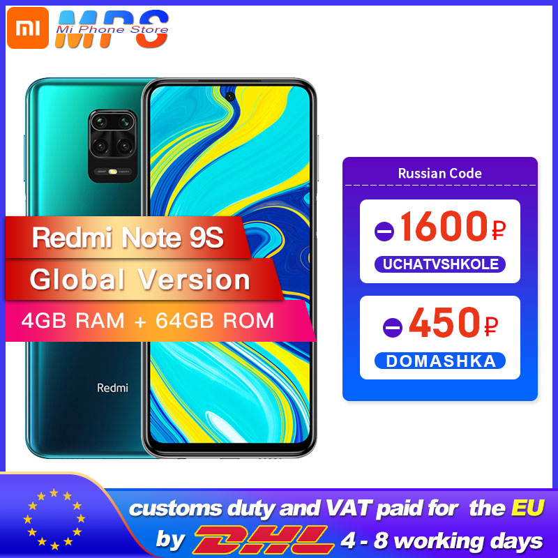 Xiaomi Redmi Note 9S 4GB 64GB/6GB 128GB Global Version smartphone Snapdragon 720G Octa core 5020 mAh 48MP Quad Camera Note 9 S(China)