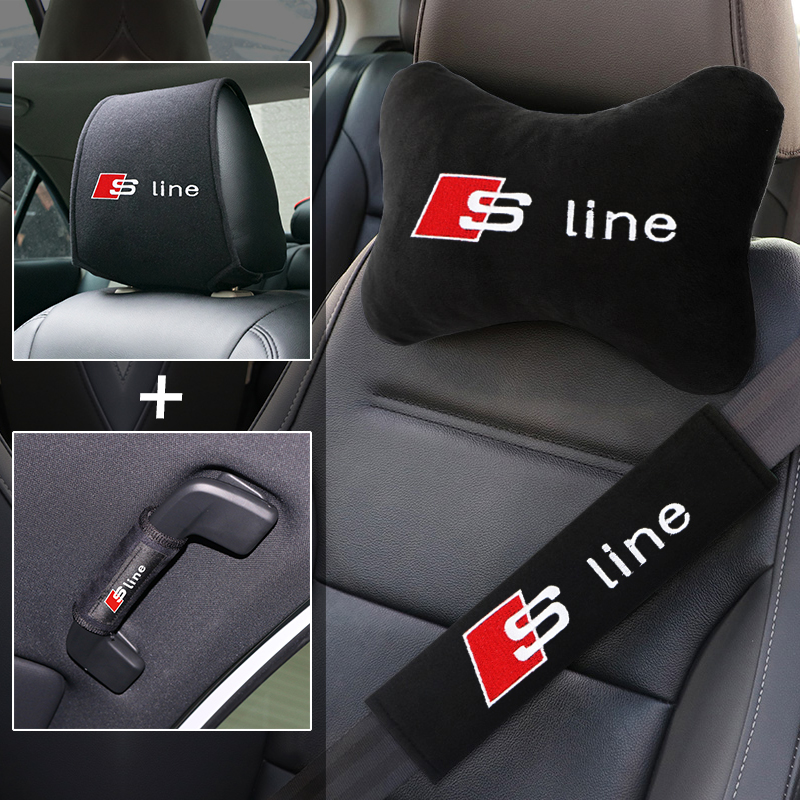 Car interior accessories set comfortable cotton soft texture headrest seat belt car Pull the gloves for Audi s3 s4 s5 s6 s7