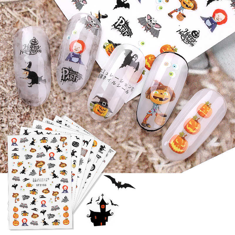 1 Lembar Baru Halloween Nail Stiker Stiker Air Transfer Stiker Kuku Seni Dekorasi Labu Tengkorak Kelelawar Hitam DIY Tips