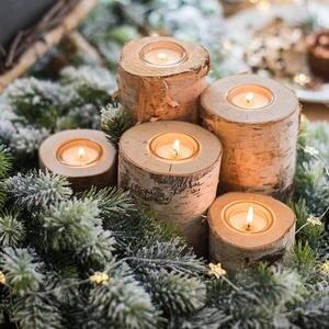 Wooden Candlestick Tray Table Desktop-Decoration Holiday-Decor Succulent-Plant-Pot Rustic Wedding