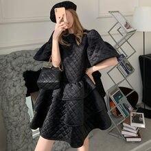 TVVOVVIN – robe en velours pour femmes, manches pétales, volants, Vintage, manches courtes, noir, automne hiver, T9