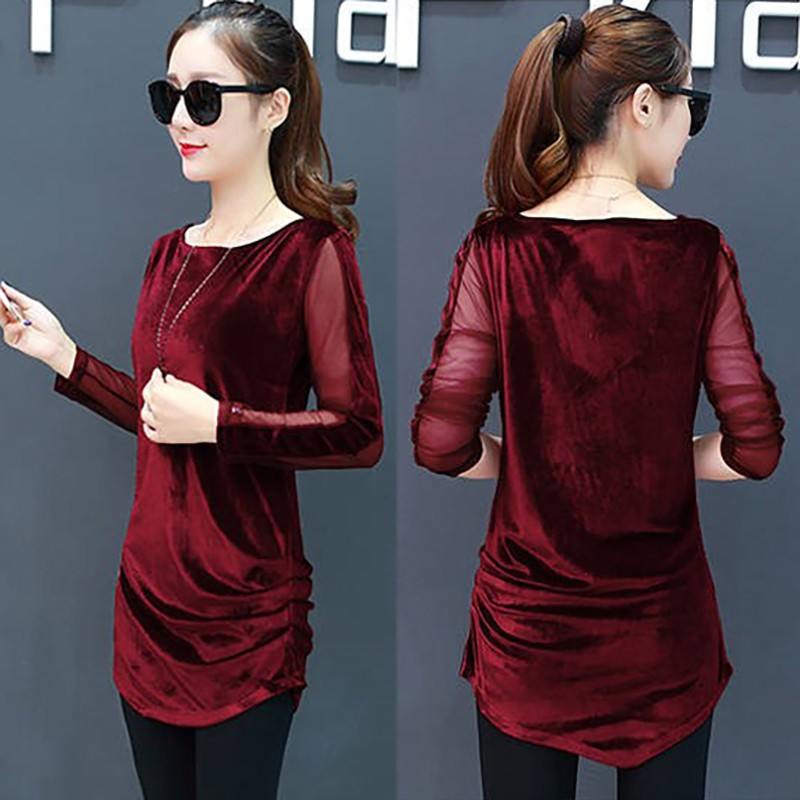 Female Fashion Mesh Stitching Long Sleeve Tshirt Women O Neck Casual Irregular Gold Velvet T shirt Woman Solid Color T Shirt in T Shirts from Women 39 s Clothing