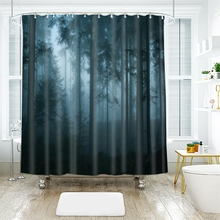 3d Landscape Trees Pattern Duskwood Dense Fog Shower Curtains Waterproof Thickened Bath Curtains for Bathroom Customizable