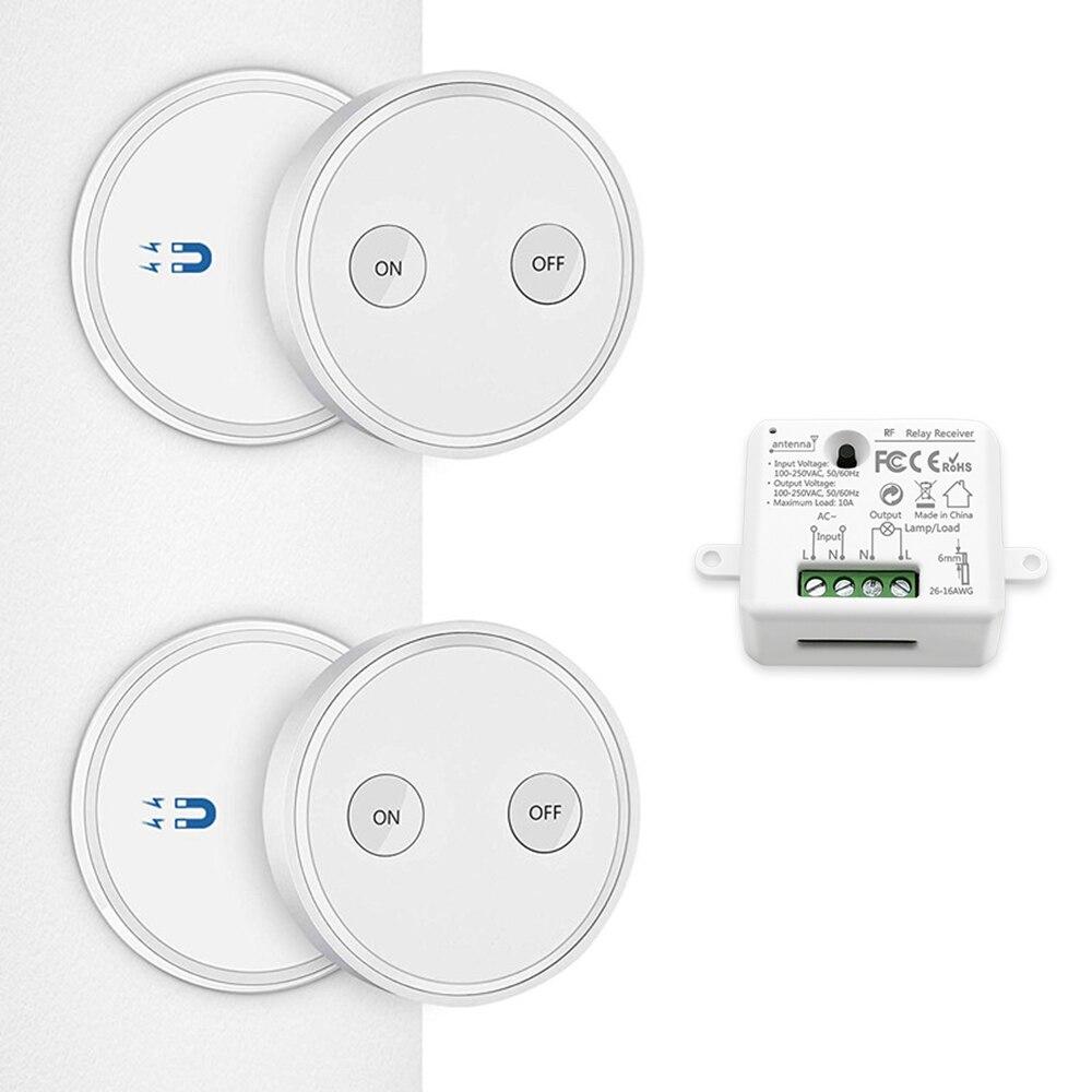 Interruptor de luz inalámbrico 2 Control remoto 1 receptor de relé montaje en pared o ser portátil, hasta 30m de alcance, fácil de instalar
