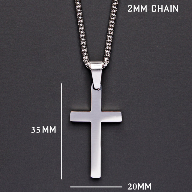 2020 Fashion New Classic Cross Men Necklace  Stainless Steel Chain Pendant Necklace For Men Jewelry Gift 4