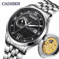 CADISEN-relojes para hombre, mecánico, automático, MIYOTA 8217, de negocios, resistente al agua, Masculino