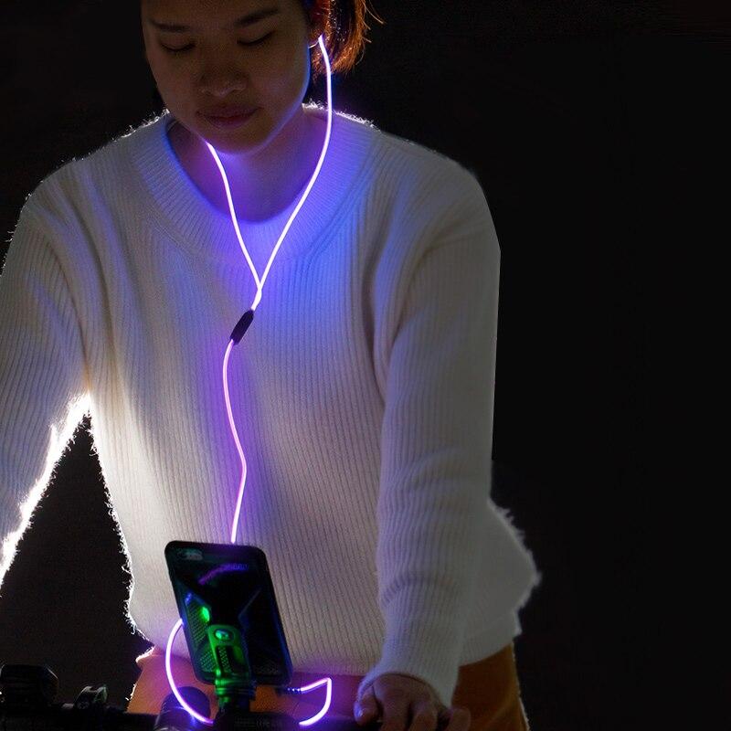 3.5mm In-ear Earbuds Stereo Luminous Earphones Night Light Glowing Headset Sport Earphones With Mic VH99