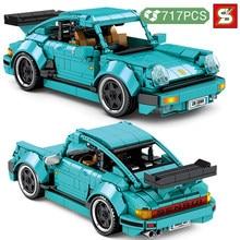 Sy bloco de ideias técnicas famoso carro de corrida blocos de construção super tráfego veículo modelo tijolos diy brinquedos para meninos presentes aniversário