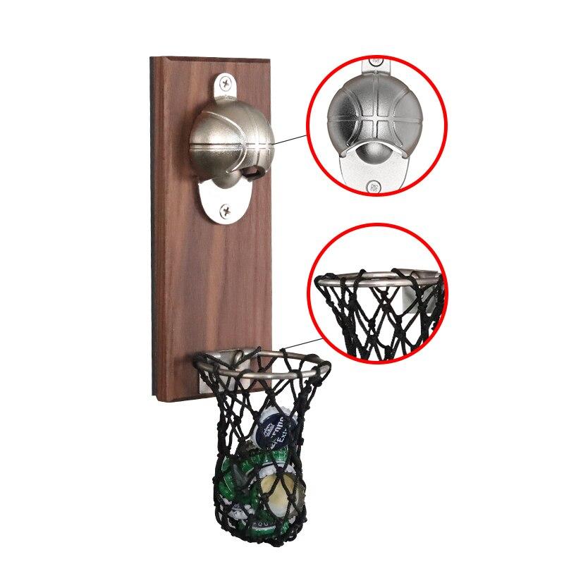 1Pcs Wine Beer Bottle Opener Wall Mount Bottle Basketball Bottle Opener Tools With Embedded Magnetic Cap Catcher In Opener NJ308