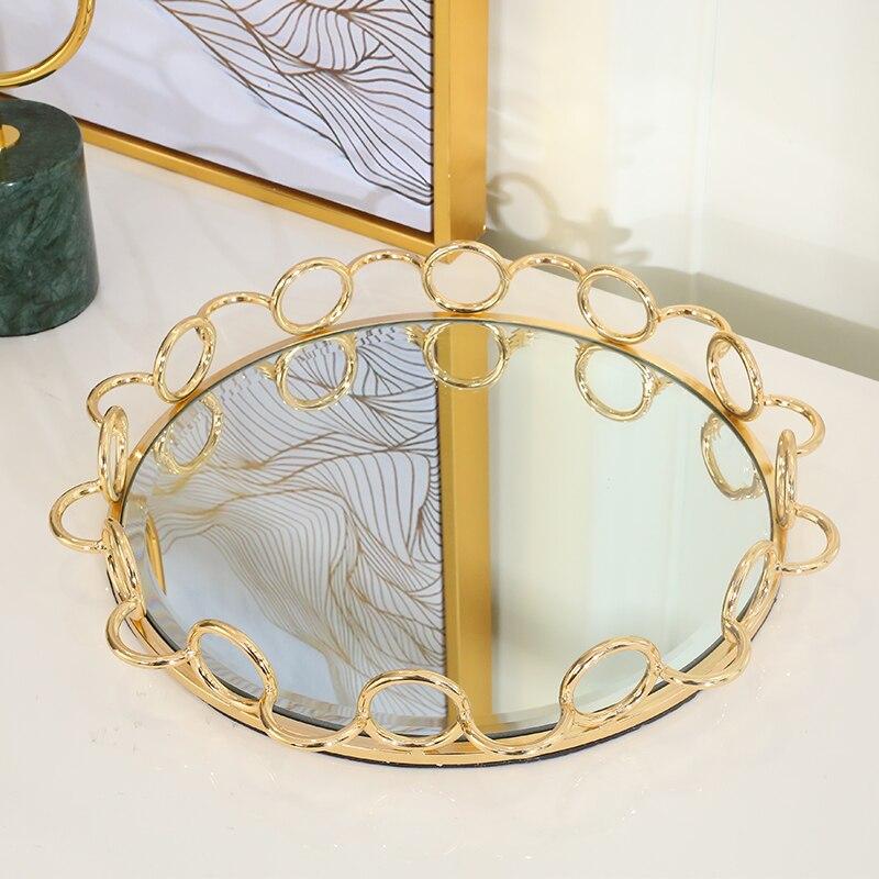 Plateau miroir en acier inoxydable doré | Décor de maison, plateau de service rond, plateau de rangement de bougies de luxe, center de table