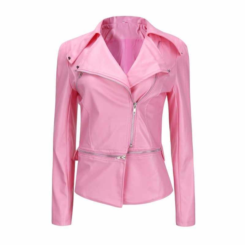 2020 DELL'UNITÀ di elaborazione del Rivestimento di Cuoio di Inverno Delle Donne di Modo di Autunno del Rivestimento del Motociclo di Nero Rosa Chiusure lampo Del Cuoio Del Faux Cappotti Della Tuta Sportiva Streetwear