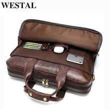 WESTAL Men teczka totes torba męska skórzana 15 torba na laptopa skórzane męskie teczki na dokumenty torebki biurowe dla mężczyzn