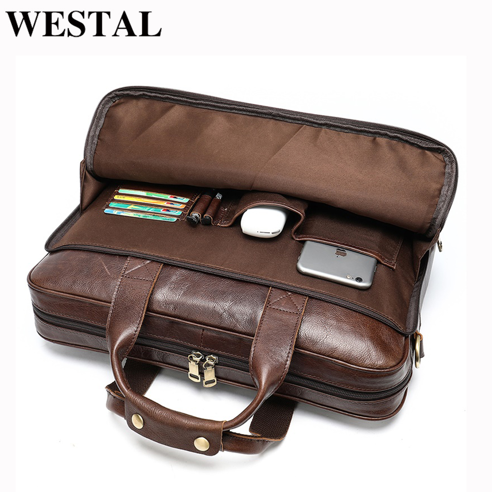 Bolsa de Couro Pastas para Documentos Bolsas de Escritório para Homem Westal Briefcase Totes Masculino Genuíno 15 'laptop Portátil Men