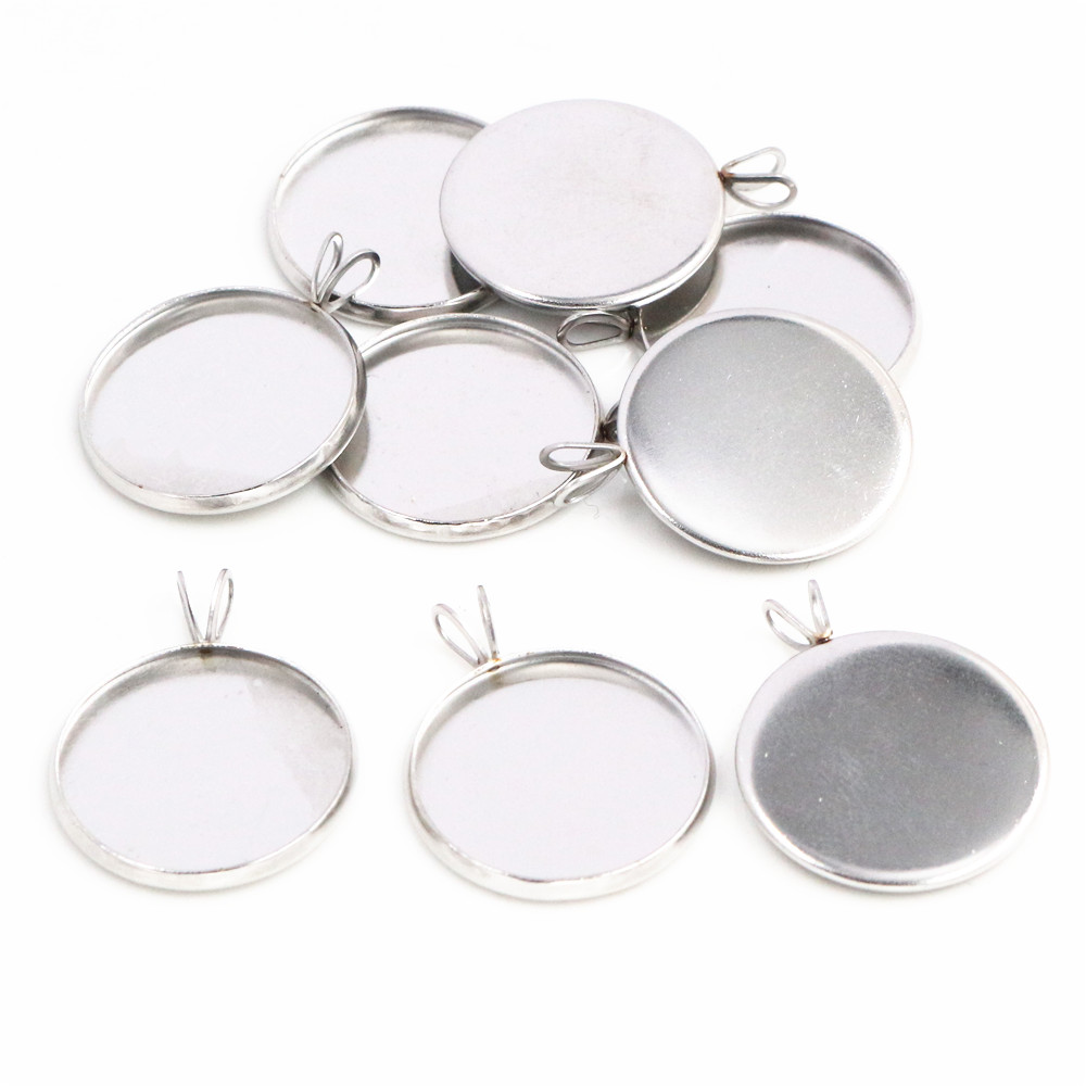 (Never Fade) 20pcs 18mm Stainless Steel Cameo Settings Cabochon Base Charms Pendant Connector Tray Blank Pendant-T5-02