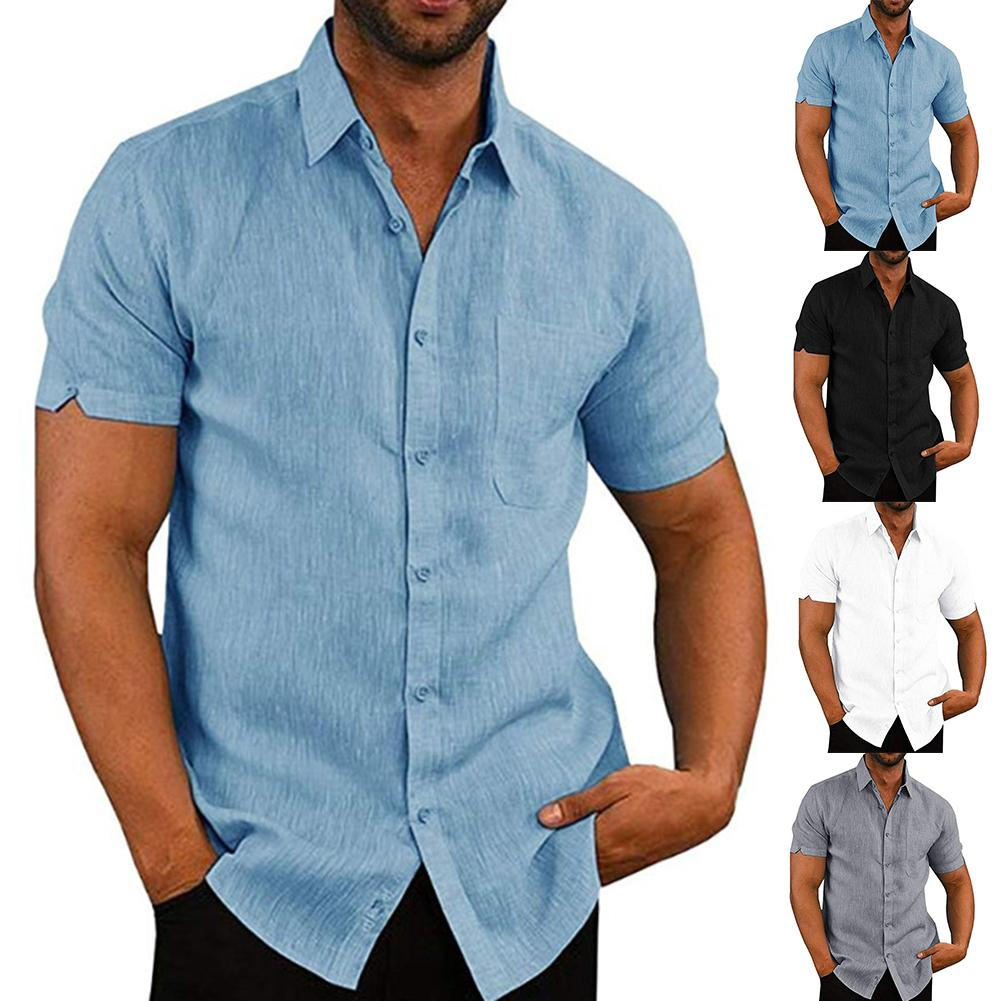Casual Men Solid Color Turn Down Collar Short Sleeve Pockets Buttons Sliming  Shirt