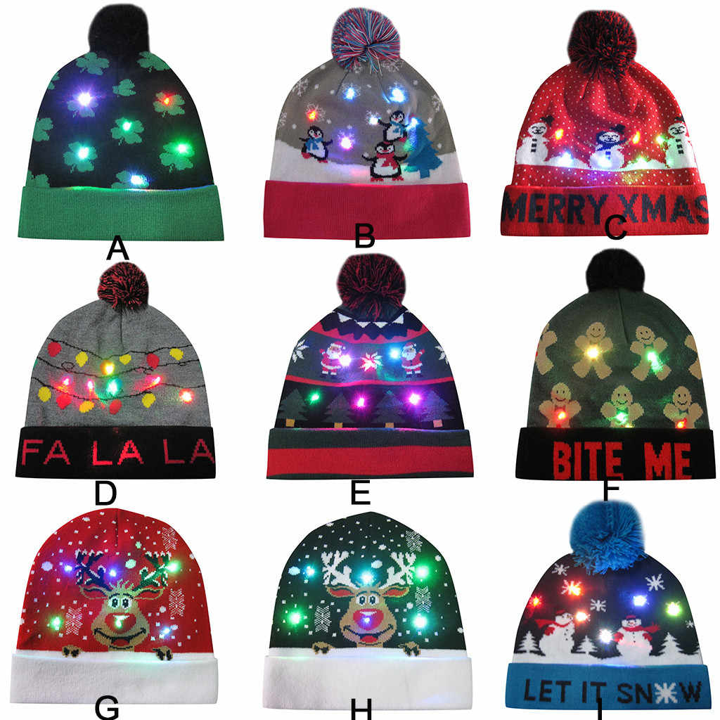 Chapéu de Santa do natal Colorido LED Light-up Knit Hat Hairball Beanie Cap Quente Presentes Light Up Chapéu Feito Malha para kid Adulto Para A Festa