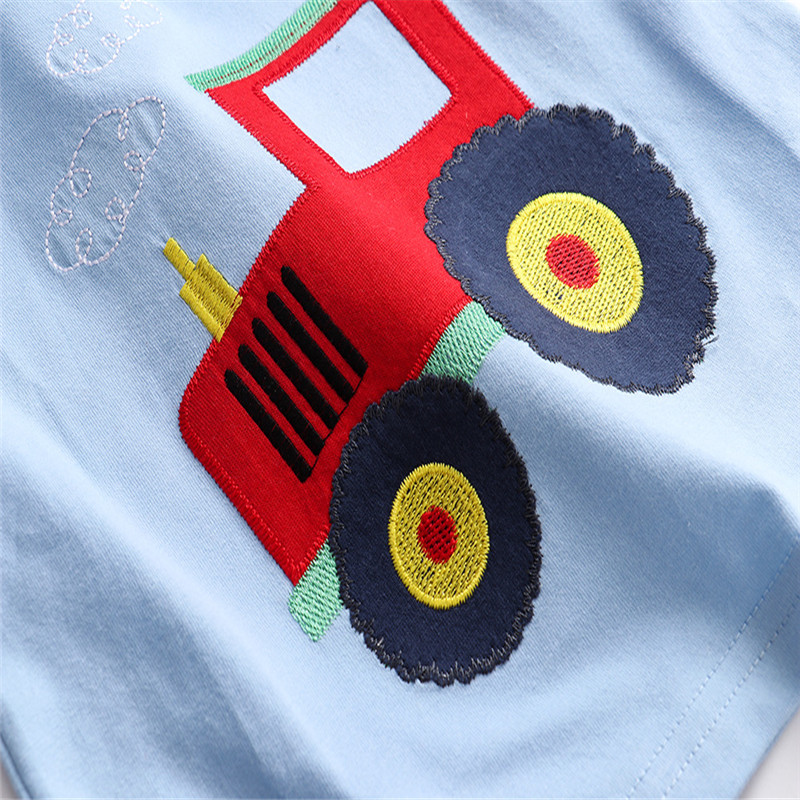 Jumping Meters New Boys Cotton Tops for Summer Children Clothes Hot Selling Stripe Applique tractor Kids T shirts 6