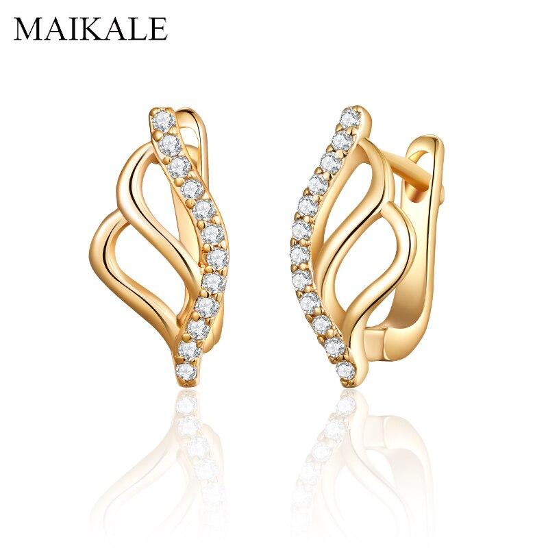 MAIKALE Neue Mode Flügel Form Stud Ohrringe Gold Silber Geometrische Zirkonia Ohrringe für Frauen Schmuck Zubehör Geschenke