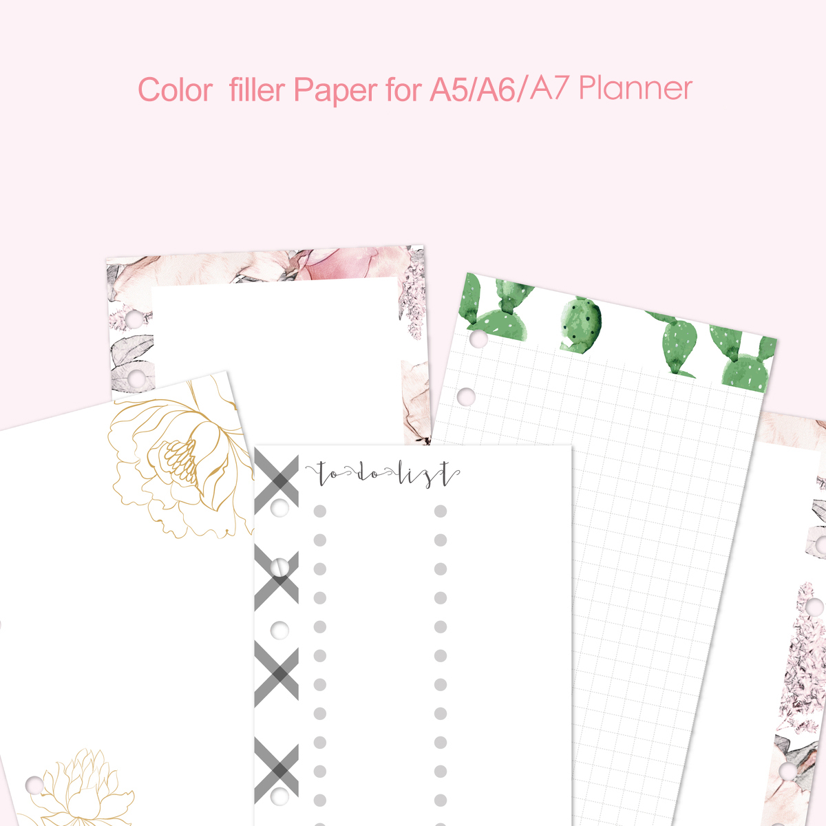 Fromthenon Korean Cute Filler Paper Refill For Filofax Spiral Notebook A5A6A7 Planner Color Grid Blank Todo List Core Stationery