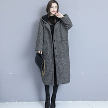 2020 large size women autumn winter woolen coat loose long section plus velvet thickening hooded woolen coat female AQ783(China)