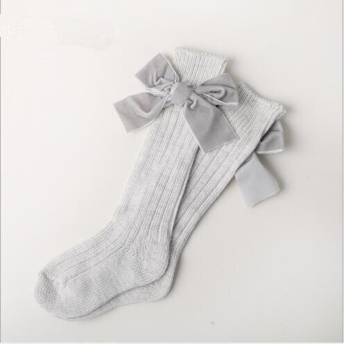 Winter new children's socks thick line knitting tube socks female baby warm cotton socks fashion velvet bow piled socks 2