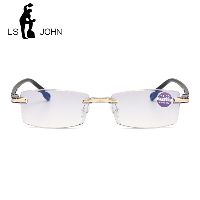LS JOHN Anti Blue Light Blocking Rimless Reading Glasses Women Men Square Frameless Presbyopic Glasses Diopters +1.0 to +4.0 Eye Sight Glasses Goggles Home, Pets and Appliances 7fbb8c2a551aaaea0fd30c: +100 +150 +200 +250 +300 +350 +400