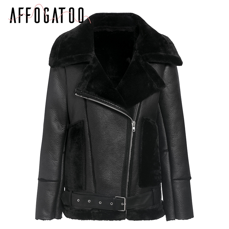 Affogatoo Casual Winter motorcycle   leather   black jacket women Elegant pocket belt femme faux   suede   coat streetwear ladies jacket