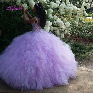 Image 4 - Liliowa suknia Quinceanera sukienki 2020 bufiasta spódnica tiul słodka 16 sukienka długi tiul suknia na bal maturalny vestido 15 anos