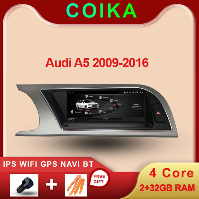 """COIKA 8.8"""" Android 10.0 System Car Touch Screen Radio For Audi A5 2009 2016 With 2+32G RAM GPS Navi Google Carplay WIFI SWC DVR"""