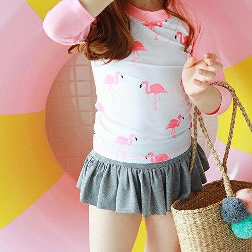 South Korea Children Split Skirt-Long Sleeve Swimsuit GIRL'S Baby Big Boy Students Girls Water Park Swimwear