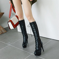 Black lace sexy high heels boots female hollow white stiletto in the middle of the boots