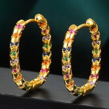 GODKI 2020 lüks Vintage bildirimi Hoop küpe kadınlar için kübik zirkon DUBAI gelin yuvarlak daire Hoop küpe 2019