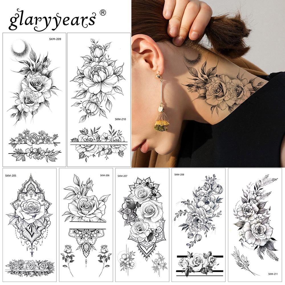 Glaryyears 1 Sheet 9*19cm Temporary Tattoo Sticker Hot Fake Flower Pattern Flash Waterproof  Fashion Small Body Art Women SKM