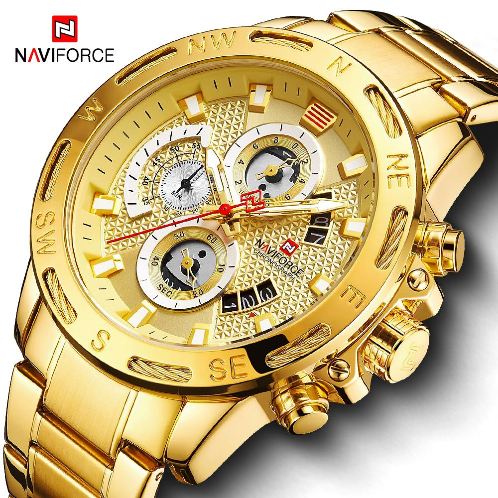 Relogio Masculino NAVIFORCE Gold Men Watches Stainless Steel Quartz Watch Male Chronograph Military Waterproof Clock Wrist watch(China)