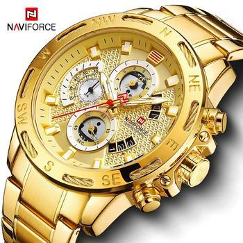 Relogio Masculino NAVIFORCE Gold Men Watches Stainless Steel Quartz Watch Male Chronograph Military Waterproof Clock Wrist watch