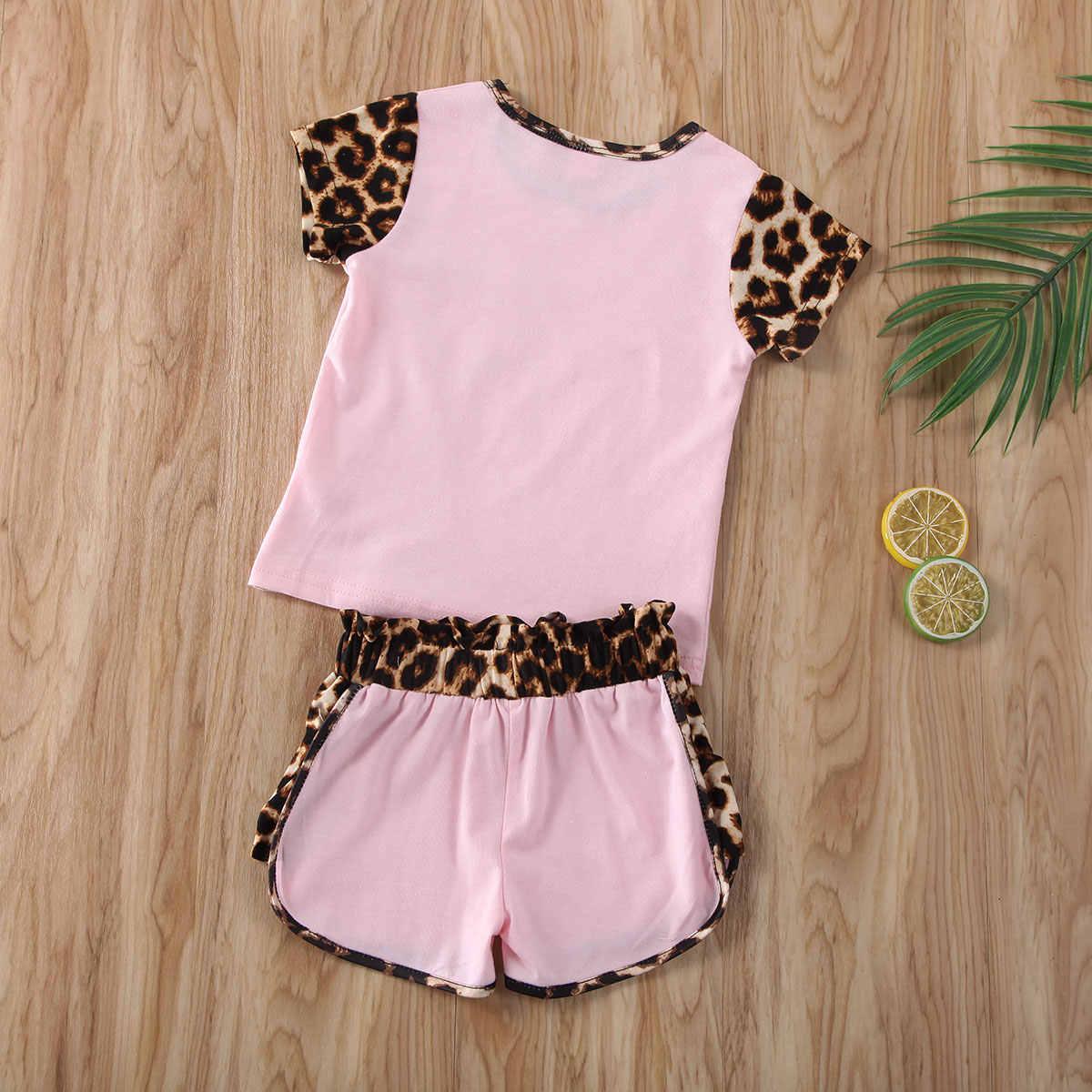 2020 طفل ملابس الصيف 1-6 y طفل طفل رضيع فتاة قصيرة الأكمام ليوبارد القمم قميص سراويل قصيرة الزي الملابس مجموعة 2 قطعة