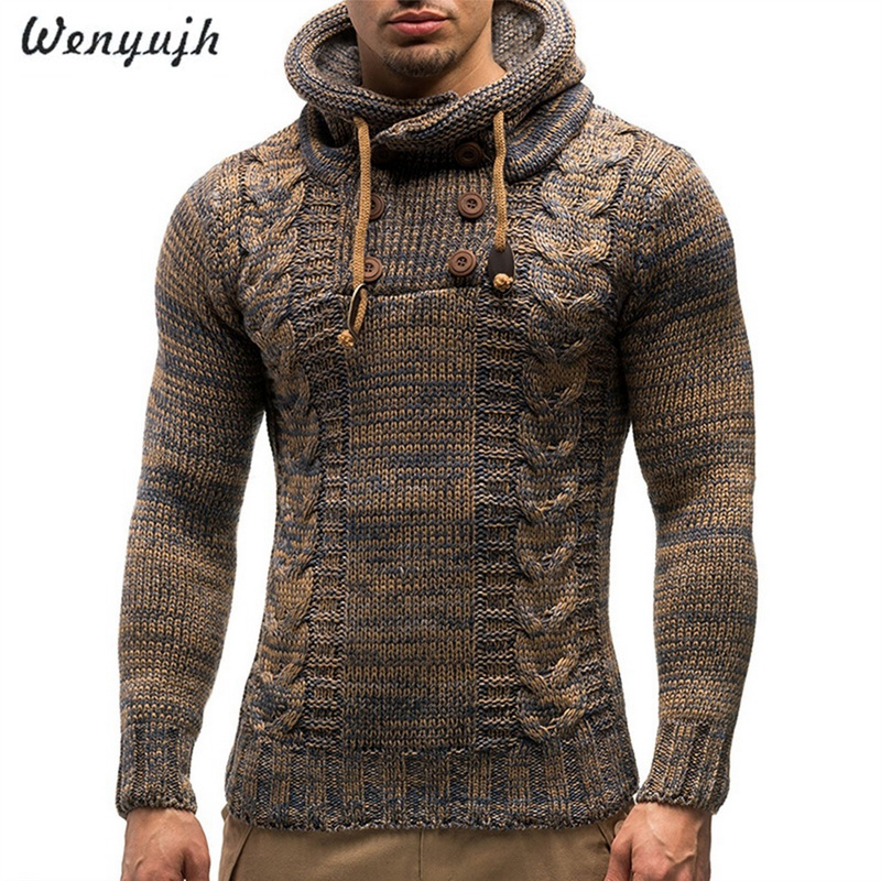 WENYUJH Autumn Winter Men's Hooded Sweaters Male Sweaters Cotton Jumper Man Fashion Casual Gray Wine Slim Mens Sweaters Hombre