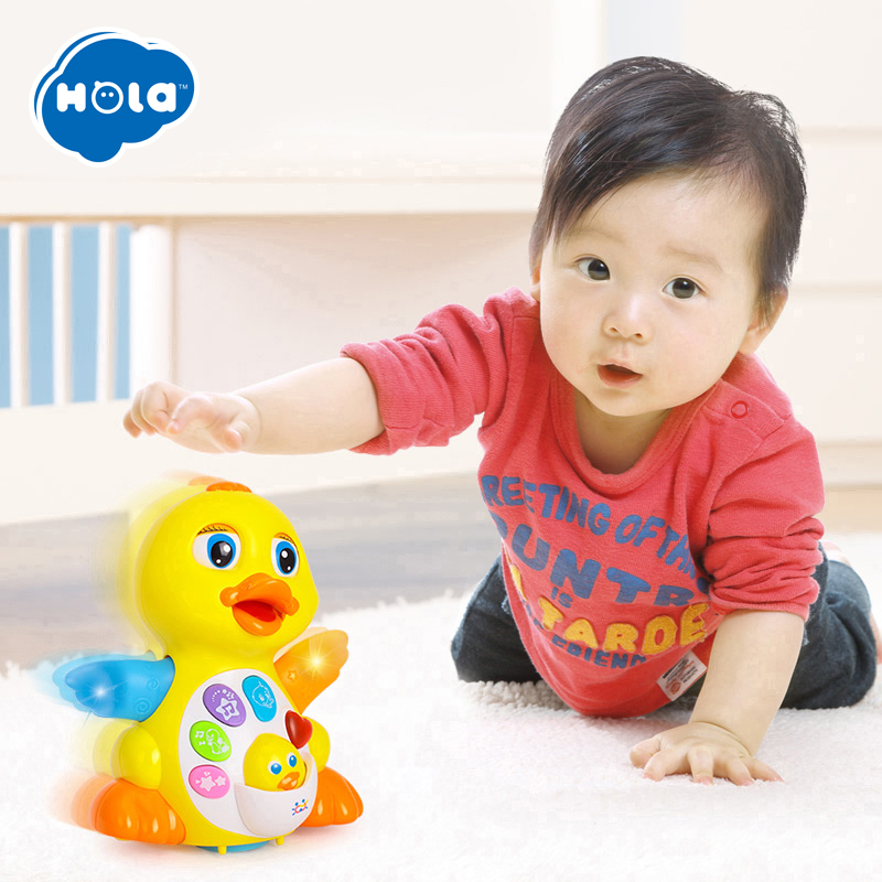 HOLA 808 Toy Musical Instrument Learning & Education Musical Duck Toy Plastic Electronic Pets Adjustable Sound Toys For Children