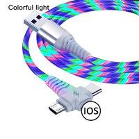 3 en 1 Cable de carga LED resplandeciente fluye cargador Cable luminoso iluminación Cable de carga rápida Micro conector USB tipo-C para el teléfono