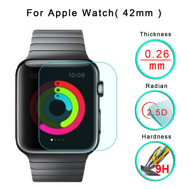 9D 42mm Curved Edge HD Tempered Glass Dust-proof Waterproof  Protector Film for IWatch 1 2 3 4 Samart Watch Wearing Equipment
