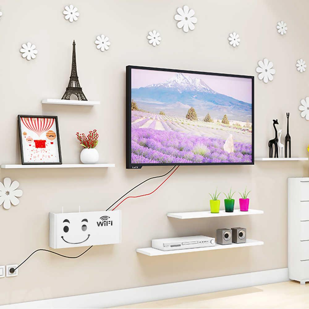 Biały router wi-fi schowki kabel wtyczka zasilania drut półka naścienna regał magazynowy 1PC Home Decor