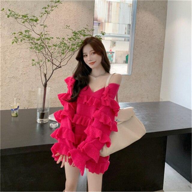Фото платье женское трикотажное многослойное милый свободный пикантный