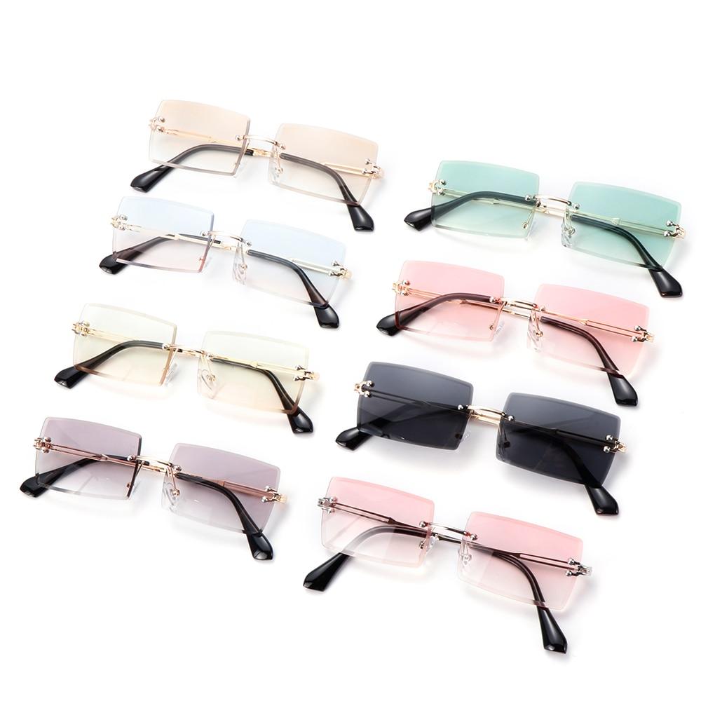 2020 Trendy uomo donna estate occhiali da sole senza montatura moda piccolo rettangolo occhiali da sole stile di viaggio UV400 Shades Eyewear 2