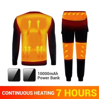 Winter+Heated+Underwear+Fleece+Lined+Heating+Thermal+Underwear+Set+USB+Electric+Heated+T-Shirts+%26+Pants+Battery+Powered+Ski+Wear