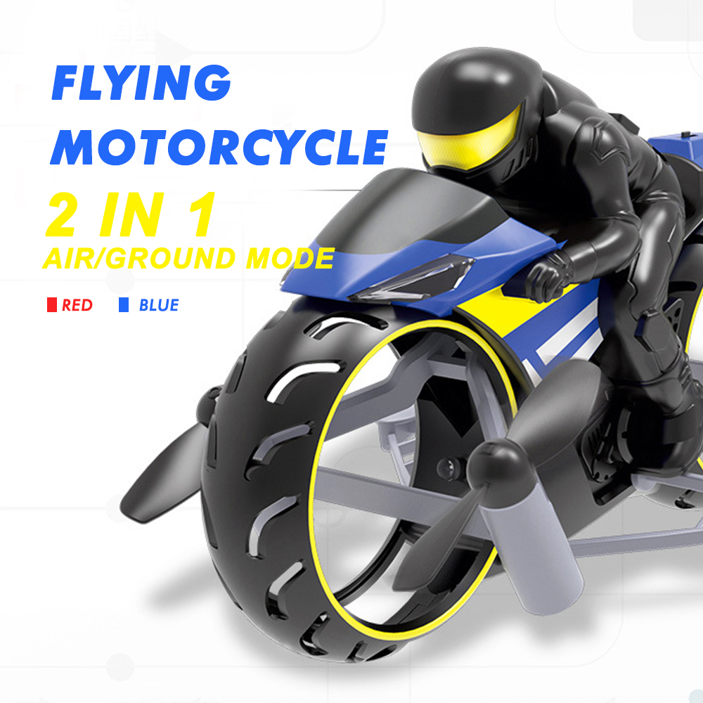Rc Motorcycle 2in1 Land And Air Dual Mode Rechargeable Stunt Flip Motorcycle Toy With Cool LED Light RC Motor Toys For Children