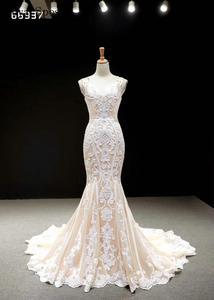 Image 3 - Кружевные Простые Свадебные платья цвета шампанского 2020, свадебные платья без рукавов с юбкой годе