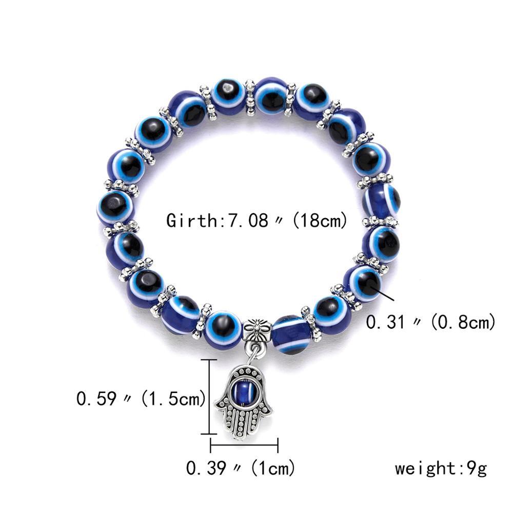 Турецкий синий злой глаз красная низка на удачу регулируемый браслет для женщин синий Фатима руки желая стеклянная бусина ручной работы браслет - Окраска металла: 6