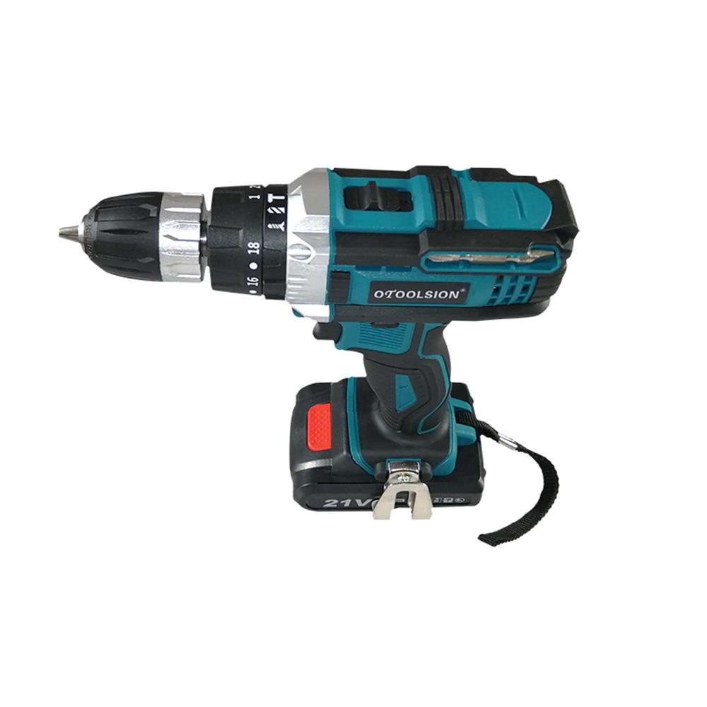 21V 18+3 Torque Impact Drill Cordless Screwdriver Power Tools Screwdriver Impact Hammer Drill Screwdriver With PlasticTool Box05