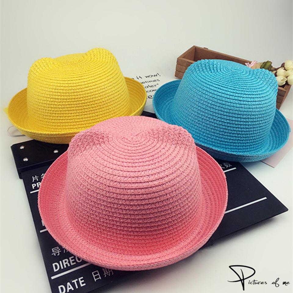 Детские летние шапочки с милыми кошачьими ушками, соломенные шляпы для защиты от солнца, Пляжные шапки для детей, для мальчиков и девочек, ша...
